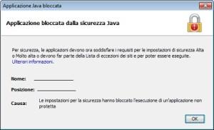 applicazione bloccata dalla sicurezza java