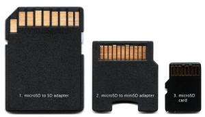 scheda micro SD e annessi adattatori