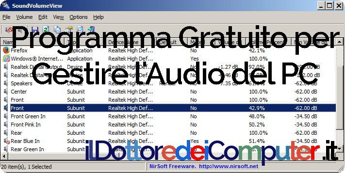 Gestire l'Audio del PC